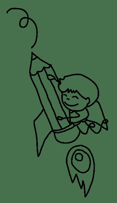 איור של ילד ועיפרון